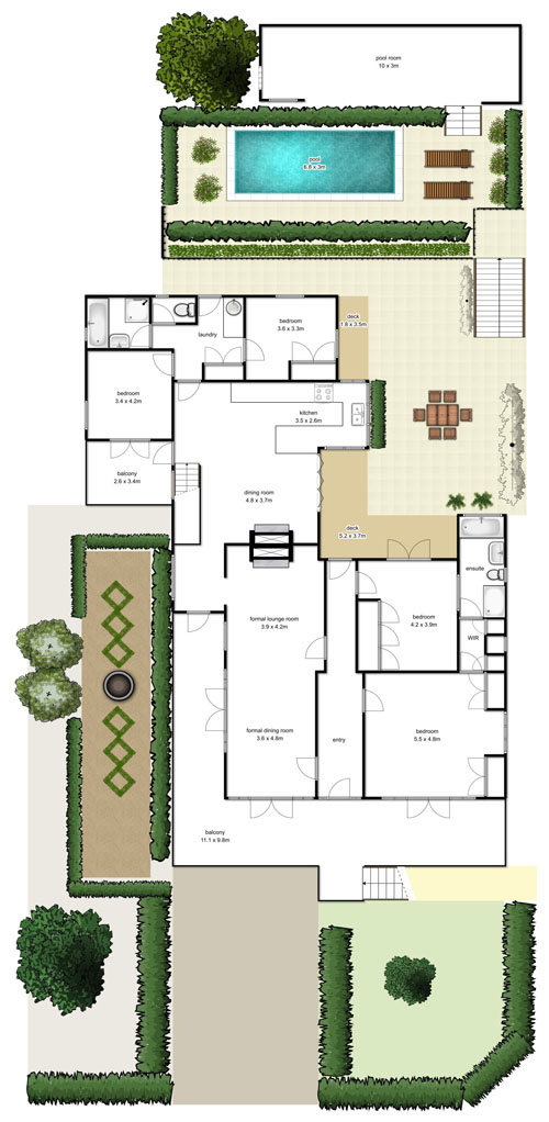 Brisbane real estate floorplans highshots for Floor plans real estate